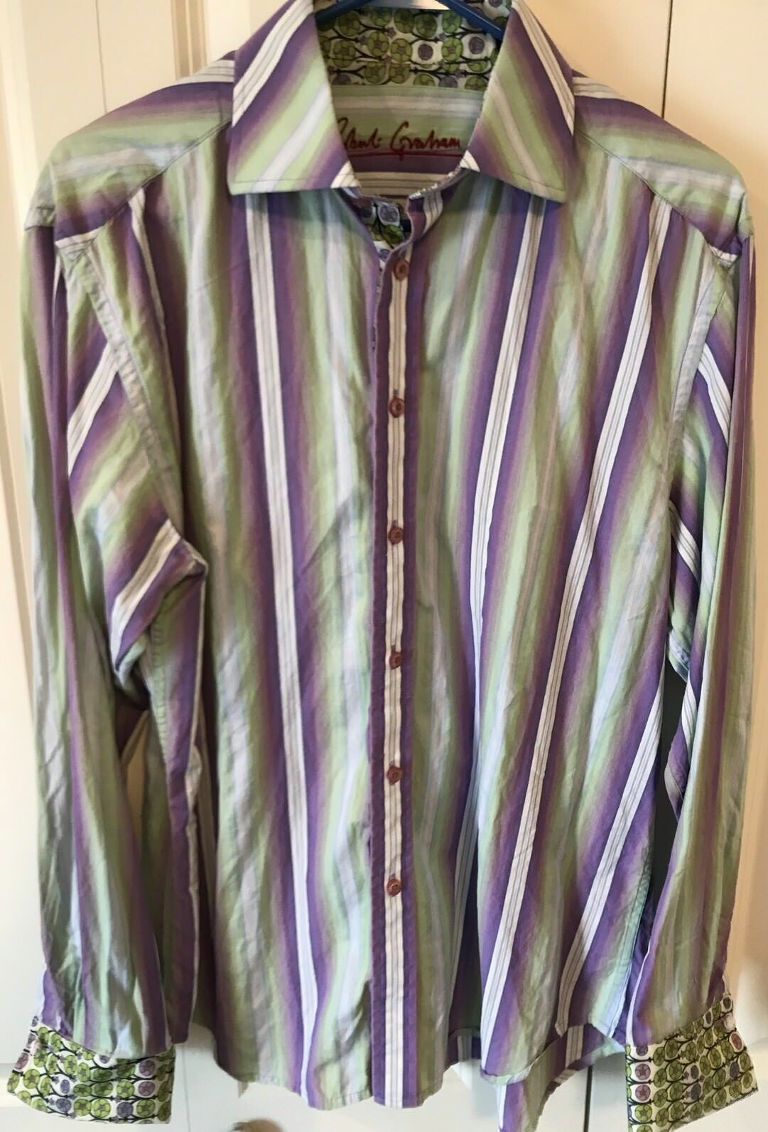 ROBERT GRAHAM Men's Long Sleeve Casual Shirt Size XL Extra Large French Cuffs