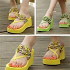 Summer Beach Women Girls High Wedge Thong Flip Flops Sandal Shoes Slippers JJ