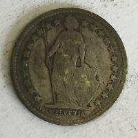 Switzerland Swiss Helvetia 1/2 Franc Silver Coin 1909