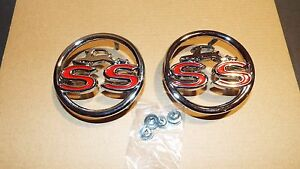 1963-63-CHEVY-CHEVROLET-IMPALA-SS-SUPER-SPORT-QUARTER-PANEL-EMBLEMS-DEERS-PAIR