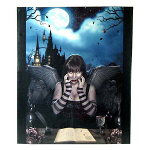 Gothic-Vampire-Girl-Witch-Castle-Wall-Canvas-Artwork-Art-Hanging-60cm-x-50cm