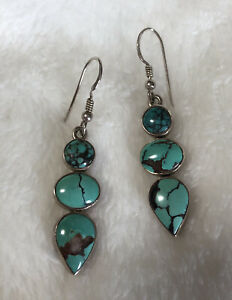 408-Vintage-Turquoise-Large-3-Stone-Dangle-Earrings-Sterling-Silver-925