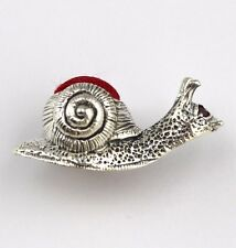 EDWARDIAN STYLE MINIATURE SNAIL PIN CUSHION WITH RUBY EYES STERLING SILVER 925