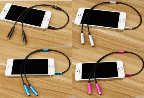 New 3.5mm 1 to 2 Headphone Y Splitter Dual Adapter Earphone Cable Jack 4 Colors