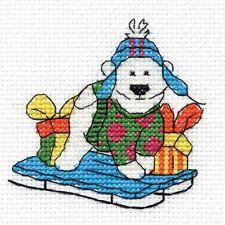 Sledging Polar Bear Cross Stitch Kit - Christmas Characters - DMC