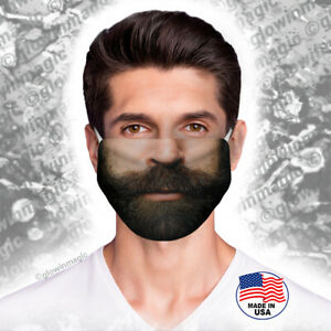 Brown-Black-Beard-vs-Mustache-face-mouth-mask-Realistic-cool-hair-Reusable