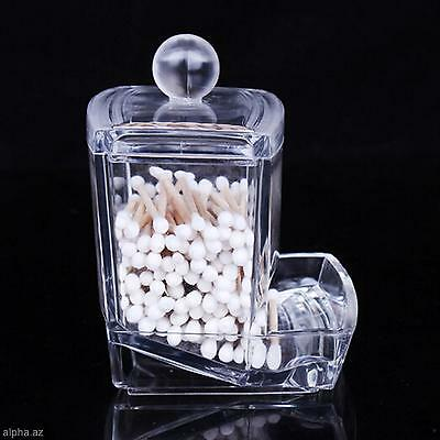 1x Cosmetic Makeup Case Clear Storage Box Organizer Holder For Cotton Swab Stick