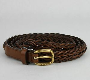 34550232935  465 Gucci Women s Brown Braided Leather Skinny Belt w gold Buckle ...