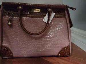 Samantha Brown Dowel Bag (RosePINK) Brown Details Croc