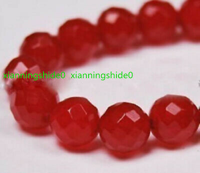 """12mm Faceted Red Ruby Round Loose Beads Gemstone 15/"""" AAA++"""