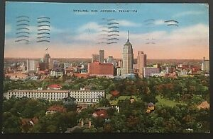 Skyline-San-Antonio-Texas-Vintage-Postcard-Postmark-1940-D89