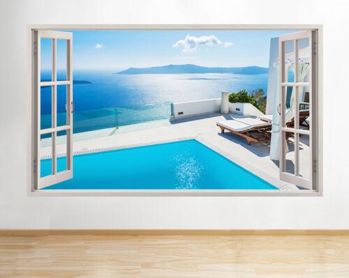 H669 vue sur la piscine montagnes ocean windiow applique murale 3D art stickers vinyl chambre