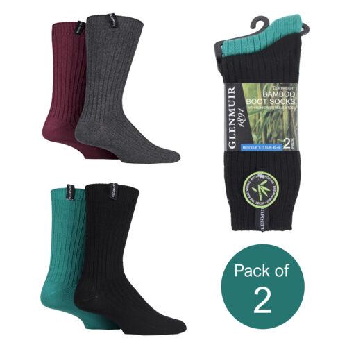 Glenmuir Men E5100 Lightweight Ribbed Bamboo Boot Socks Pack of 2