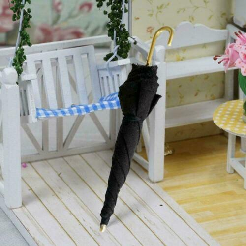 1Pc Mini Black Umbrella For 1:12 Miniature Dollhouse Room Decoration Q8S8