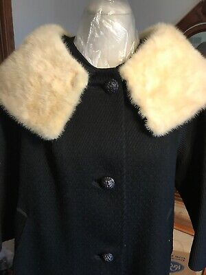 50s Black Textured Miracurl Persian Lamb Midi Long Coat Cream Silver Mink Fur Collar Buttons