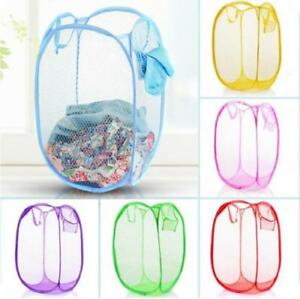 Laundry-Basket-Pop-Up-Mesh-Bin-Tidy-Storage-Foldable-Cloth-Washing-Bags-Hamper