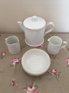 SMALL ANTIQUE TEAPOT for 1 With Milk Jug Creamer & Sugar Bowl Empire Works White