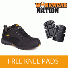 Apache Ap318sm Mesh Leather Black Safety Work Trainer Free Knee Pads