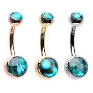 Details About Abalone Shell Inlay Top Bottom Ball Belly Ring Navel Piercing Body Jewelry
