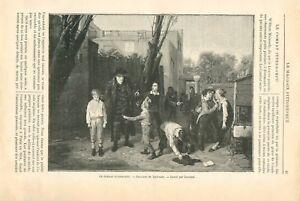 Ecole-Instituteurs-Eleves-Combat-Interrompu-par-William-Mulready-UK-GRAVURE-1898