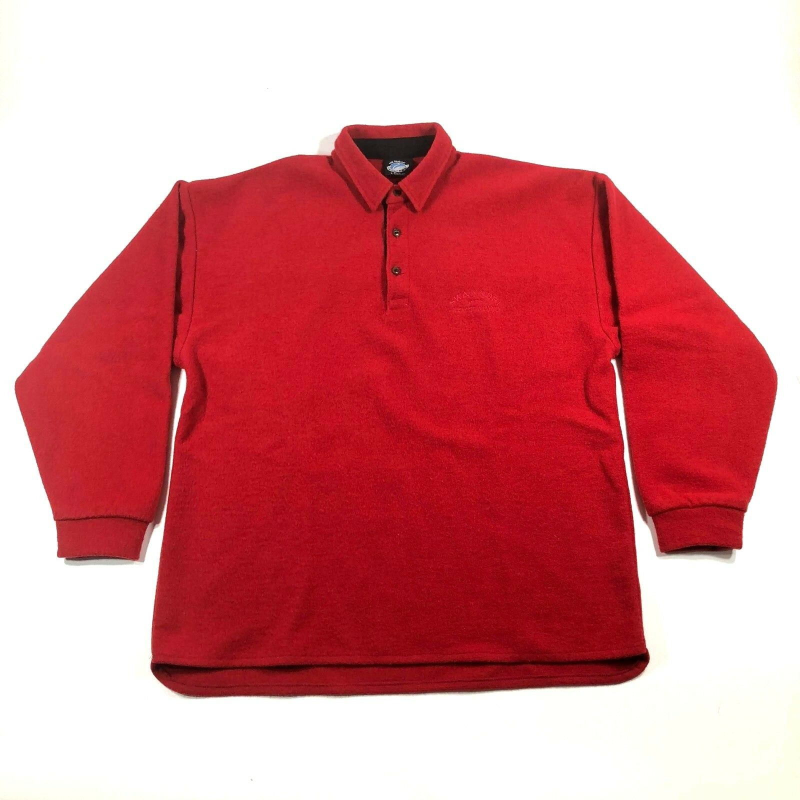 The Original Swanndri  Herren L Wool Polo Pullover Sweater ROT L/S New Zealand
