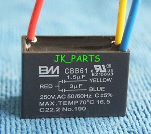 New BM CBB61 1.5uF+3uF 3 WIRE 250VAC Ceiling Fan Capacitor UL ...