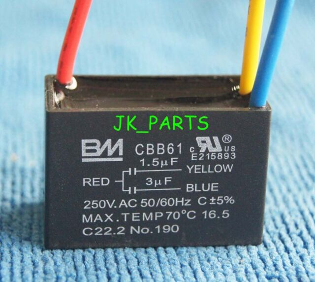 New Bm Cbb61 1 5uf 3uf 3 Wire 250vac Ceiling Fan Capacitor Ul Certified