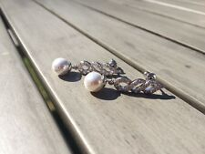 18ct white gold filled white topaz and pearl spiral drop dangle earrings