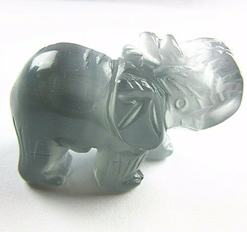 Beautiful gray cat eye gemstone carved elephant furnishing articles Vk4060