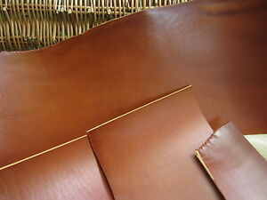 SADDLE TAN FULL GRAIN LEATHER COWHIDE PIECES 2-2.4mm thick VARIOUS SIZE, craft