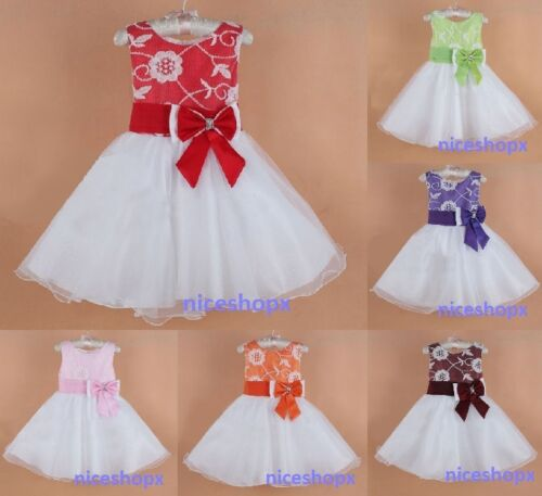 Girls Flower Formal Wedding Bridesmaid PARTY Christening Dress