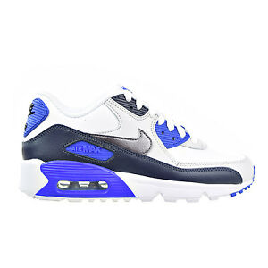 Nike Toddler Air Max 90 Leather WhiteObsidianPure PlatinumBlue | Boys White Nike Air Max|Nike Air Max 90