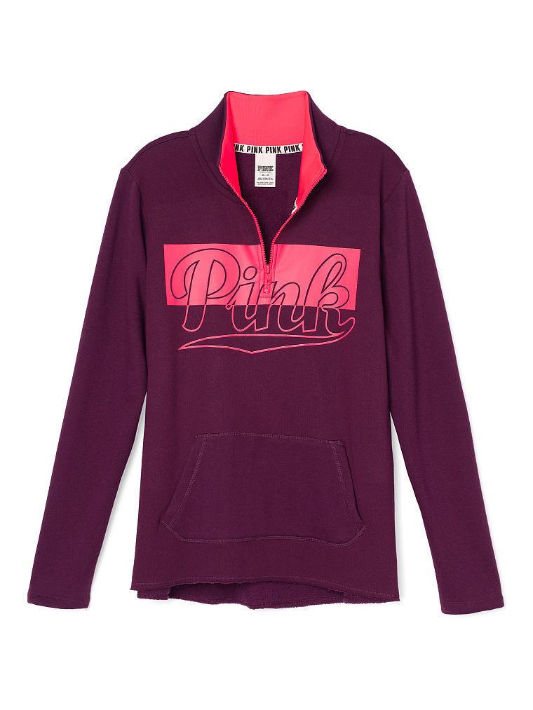 VICTORIA'S SECRET Pink Fleece High Low Half Half Half Zip Sweater XSmall NWT Burgundy,Pink f5ad09
