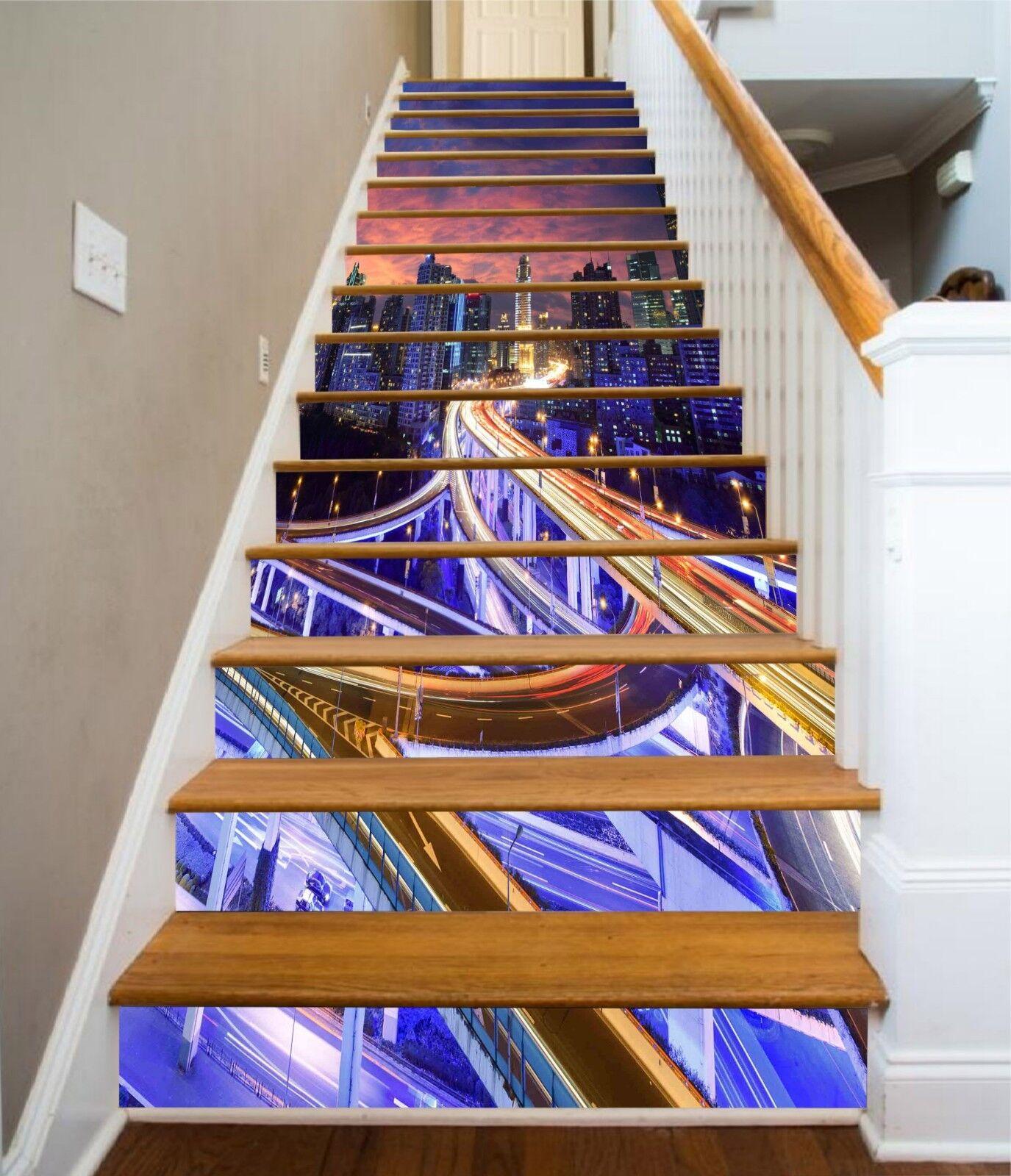 3D Light City Stair Risers Decoration Photo Mural Vinyl Decal Wallpaper UK