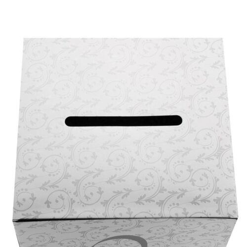 """10/"""" X carte 10/"""" Boîte Avec Fente Double Motif Coeur Blanc Argent Mariage Argent Boîte"""