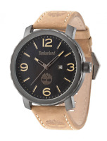 Timberland Men's Quartz Watch With Black Dial Analogue Display And Brown Leather