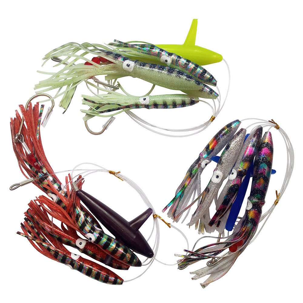 3 Sets Fully Rigged Big Game Daisy Bird Trolling Chain Fishing Squid Lure Teaser