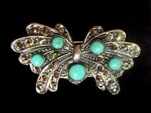Sterling-Silver-Marcasite-Turquoise-Butterfly-Brooch-Vintage-Art-Deco-style-1-5-034