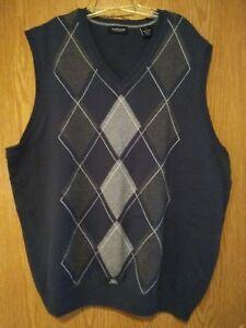 337fb37244d2 696 Van Heusen Mens Large Slate Gray Green Argyle Sweater Vest EUC ...