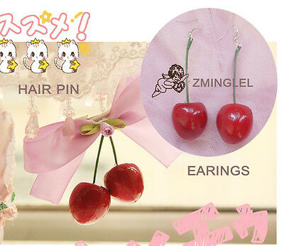 Super Cute Lolita Harajuku Cherry Hairpin&Cherry Earings Set Ribbon Bow Handmade