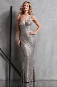 Dress The Population Sequin Harper Mermaid Silver L Dress Gown New