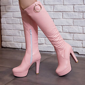 Womens-High-Heel-Side-Zip-Slim-Riding-Metal-New-Knee-High-Boots-Shoes-Plus-Sz