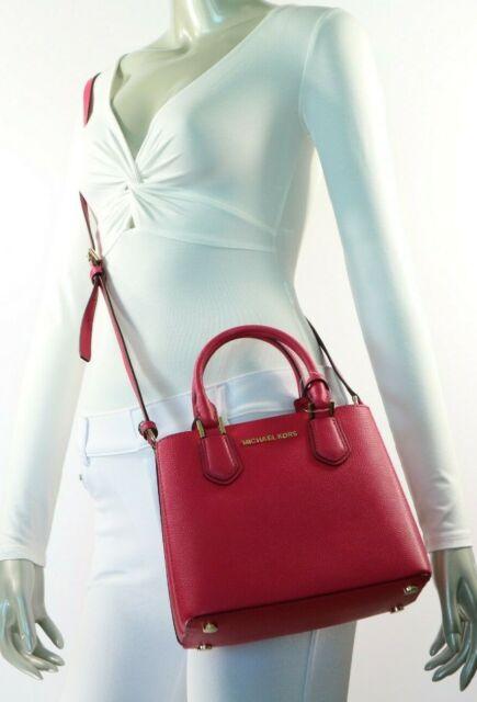 86d4deca17e8 Michael Kors Adele Medium Pebbled Leather Satchel Messenger Bag Ruben Red