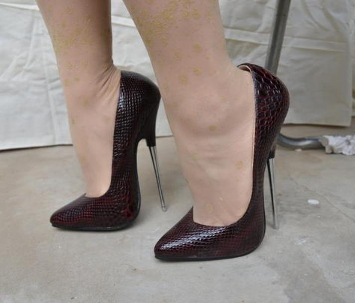 16CM Wouomo Snake Pointed Toe Stilettos Nightclub High Heels scarpe Sexy Zseller