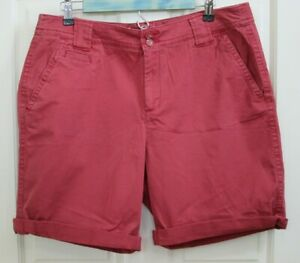 St-Johns-Bay-Womens-16-36-Red-Weathered-Cuffed-Chino-Shorts-Stretch-12-19834