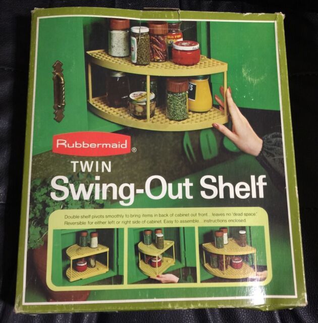 Vintage 1975 Rubbermaid Twin Swing Out Shelf >New In Box <White