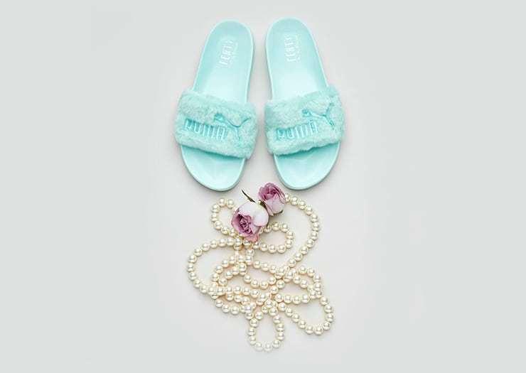 Puma x Rihanna Fenty Fur Slide Wns Shoes Bay verde Donna Sandal Shoes Wns 365772-01 6ef609