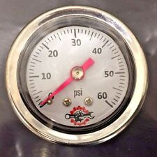 HARLEY LIQUID FILLED OIL PRESSURE GAUGE 60PSI hd chopper bobber cafe white ss 60