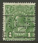 AUSTRALIA KGV 1d GREEN PERF OS Small Mult Watermark PERF 13½ x 12½ USED (No 2)