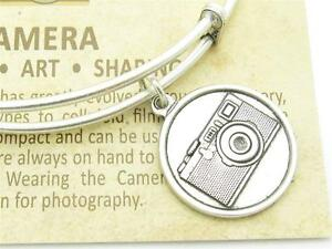 Wind-and-Fire-Camera-Silver-Charm-Wire-Bangle-Stackable-Bangle-Bracelet-USA-Gift